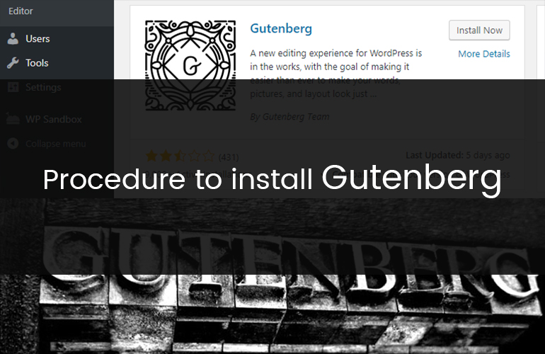 Procedure to install Gutenberg